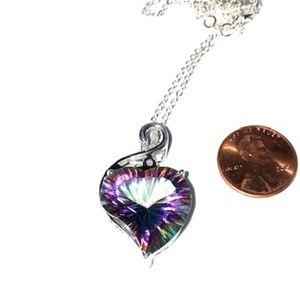 Mystic Stone and Silver Heart Shaped Necklace